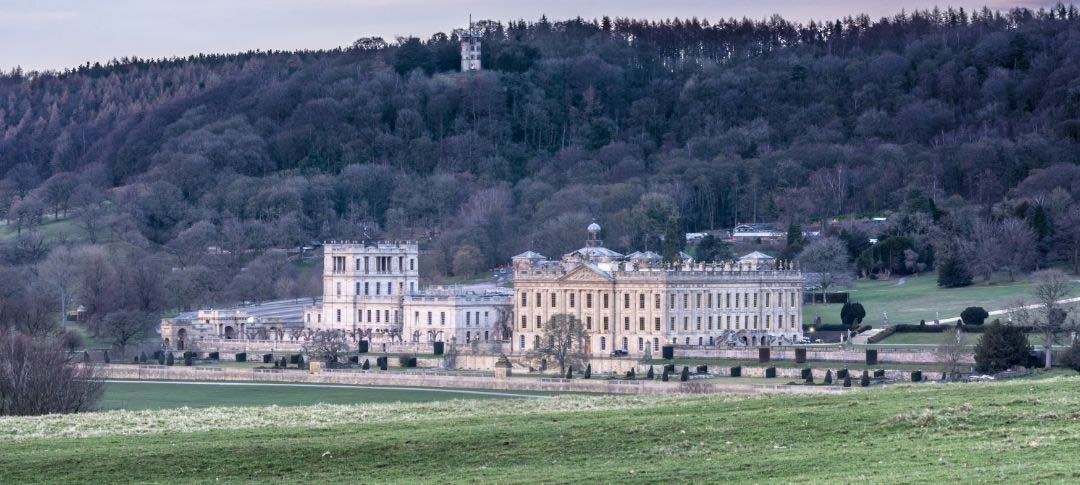 Chatsworth house in the winter film location