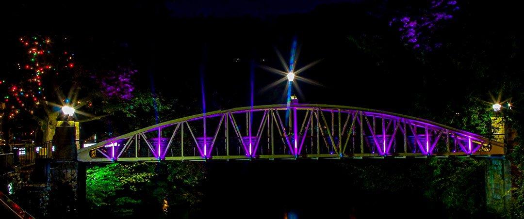 Matlock Jubilee Bridge illuminated