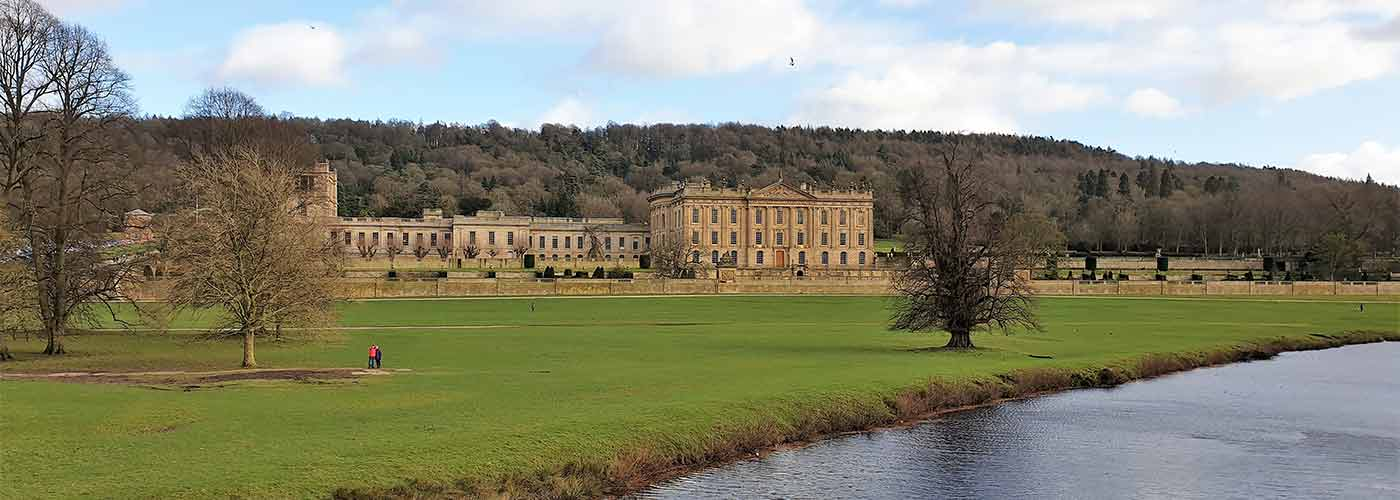 View of Chatsworth House in the winter