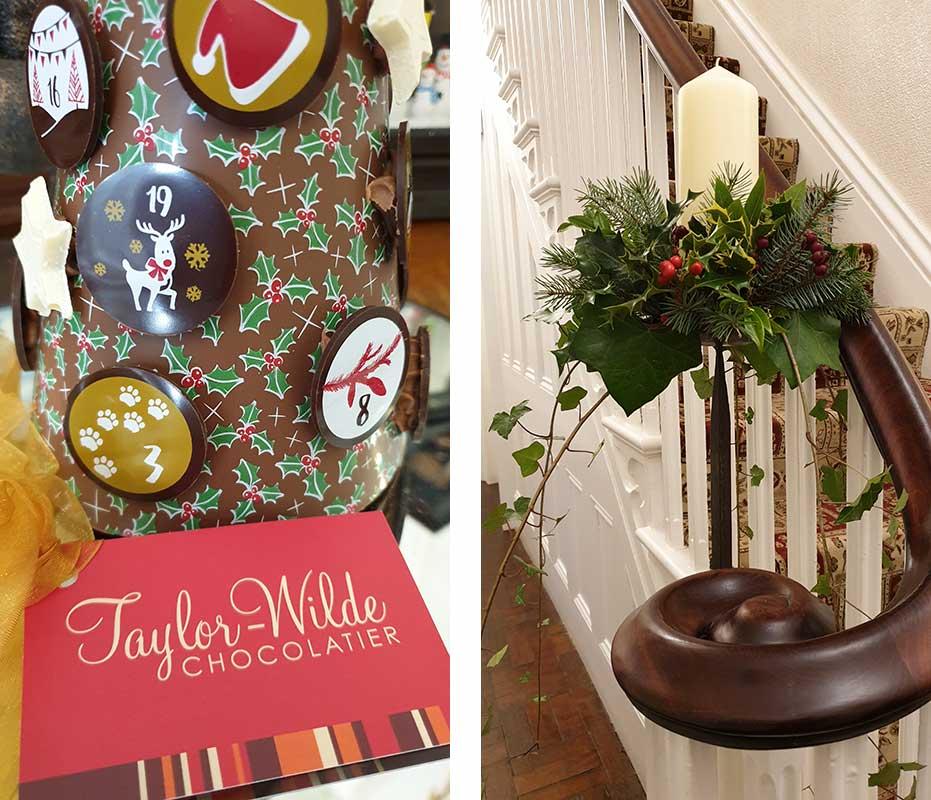 Chocolate advent calendar and Christmas candle