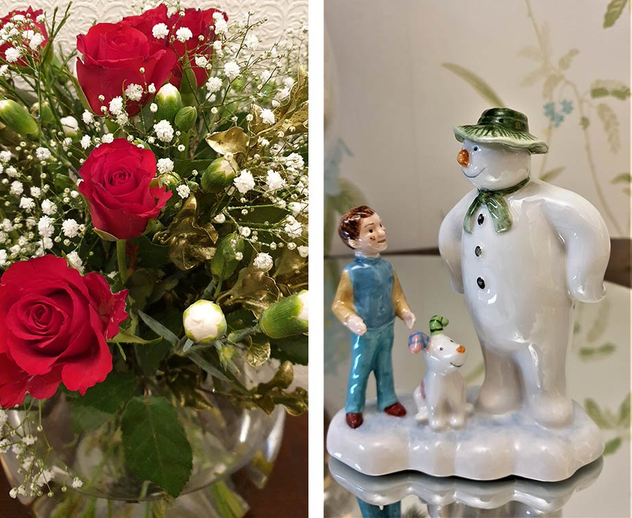 Christmas roses and Snowman decoration