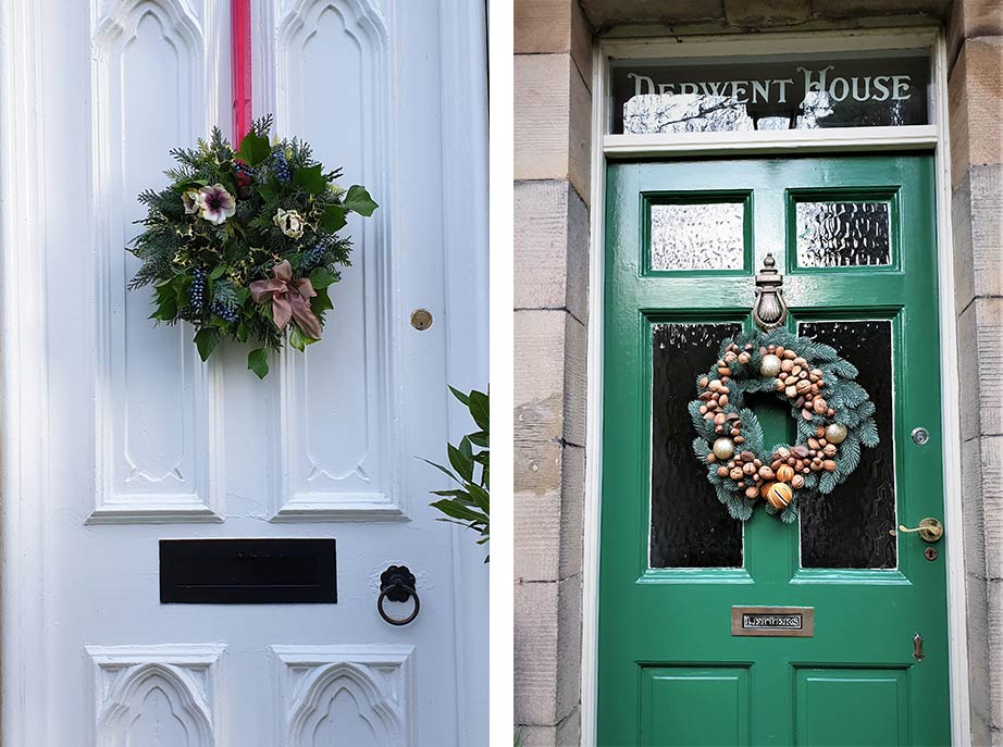 Christmas wreaths on front doors