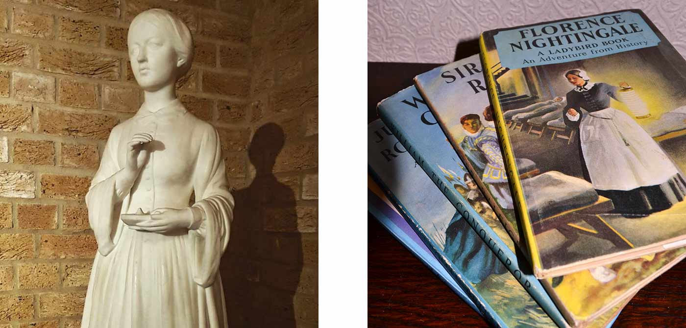 Books about Florence Nightingale with her statue