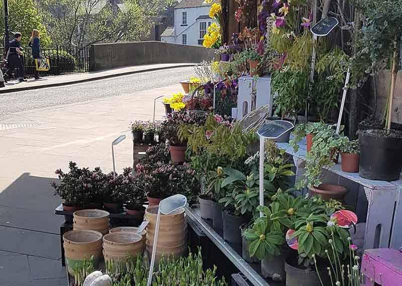 Flower shop next to Derwent Bridge in Matlock