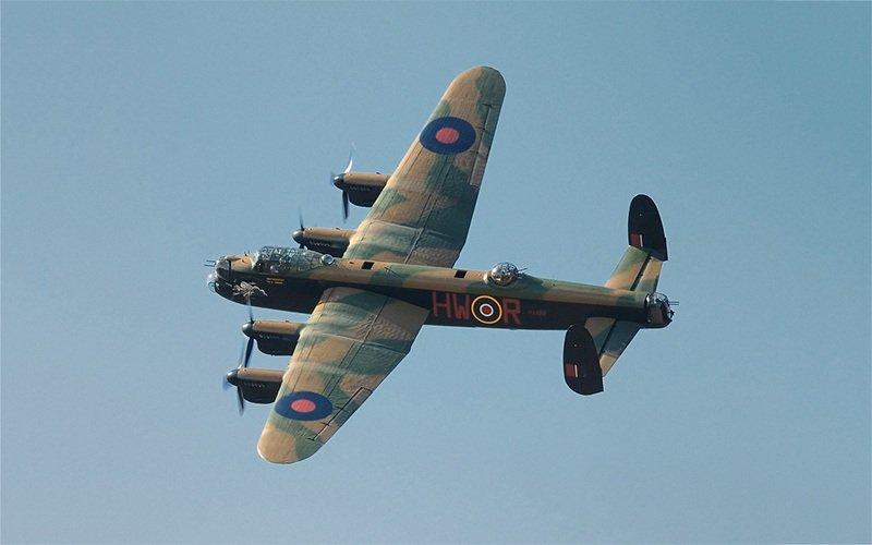 Lancaster bomber flying overhead