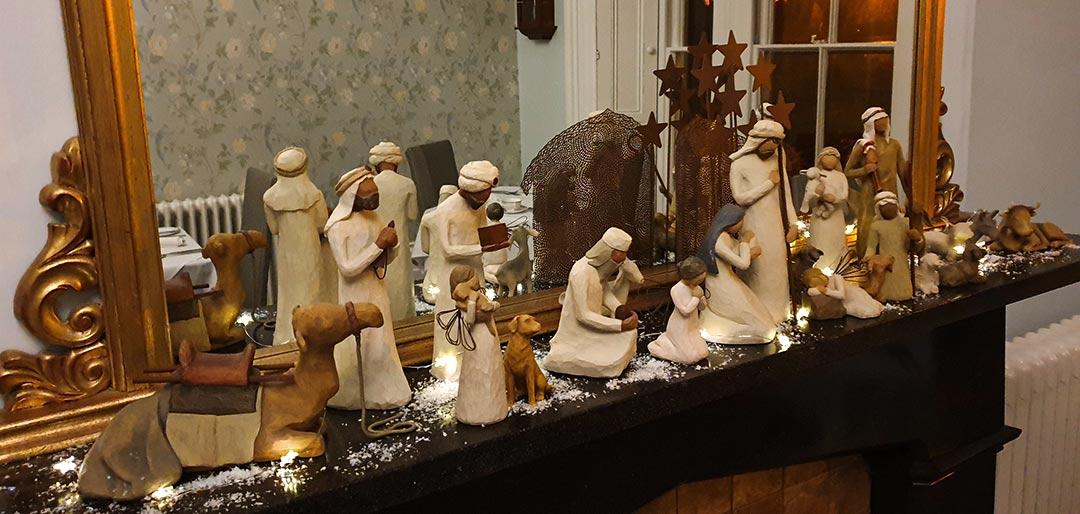 Nativity figurines on mantelpiece