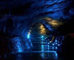 Pooles Cavern lit by blue lights