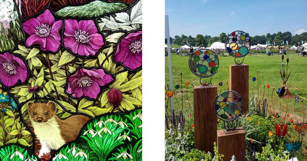Stained glass panels at RHS Chatsworth