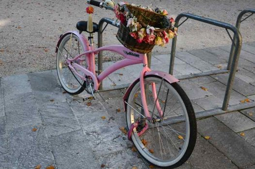 Pink bike with flowered basket