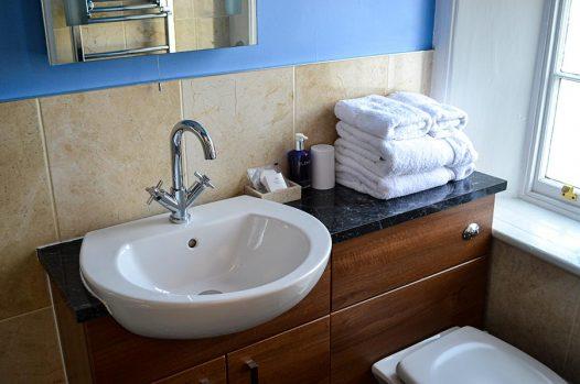 Ensuite bathroom with blue walls