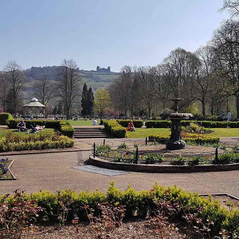 Hall Leys Park Matlock with views of Riber Castle