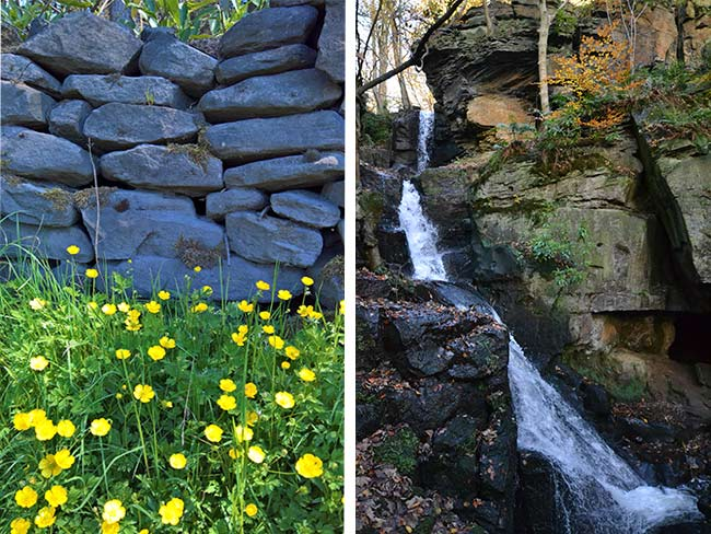 Lumsdale Valley falls and stone wall