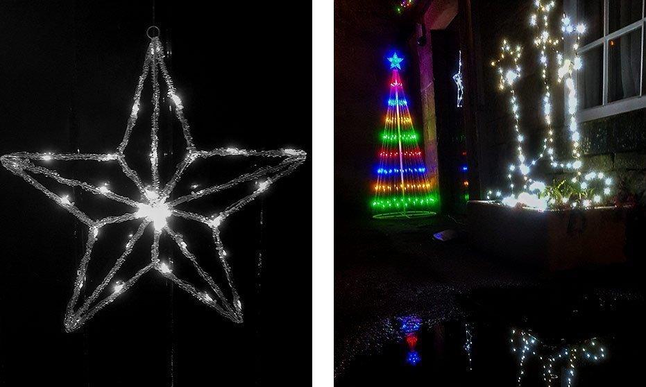 Outside Christmas lights in Matlock