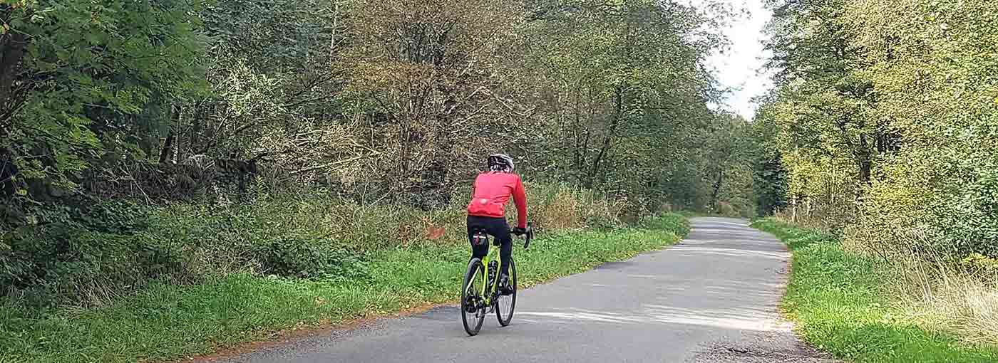 Cyclist on the Monsal trail in the Peak District