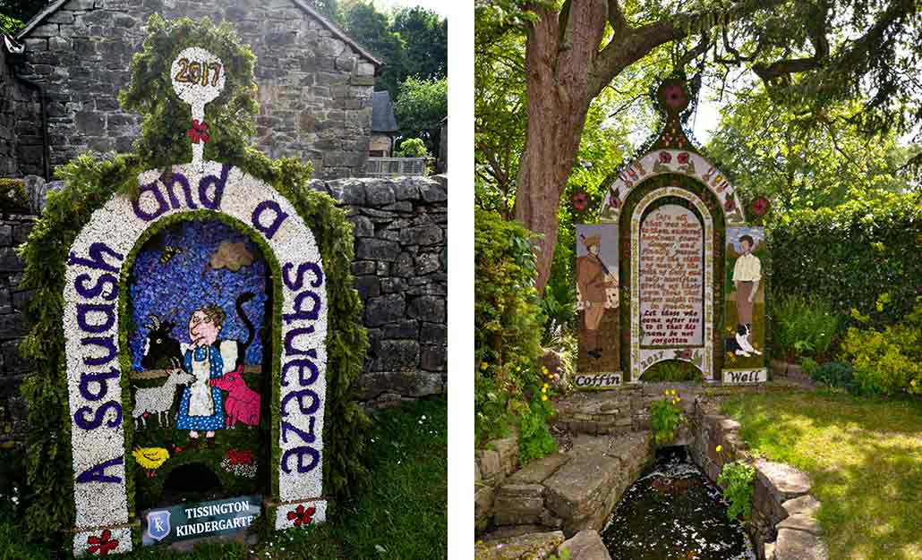2 Derbyshire village well dressing images made from flowers