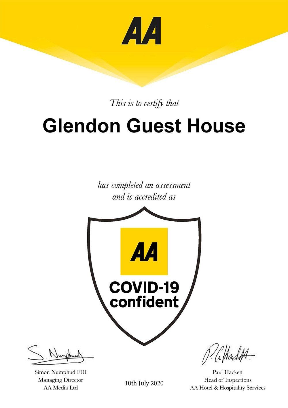 AA Covid-19 confident certificate