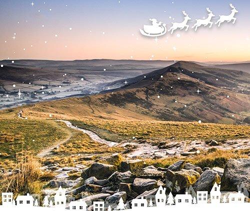 Derbyshire landscape with Christmas scene