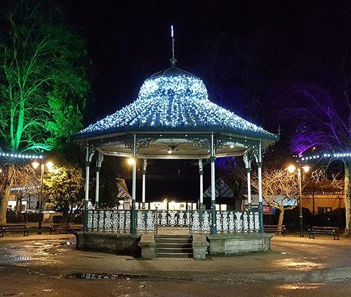 Matlock bandstand lit with Christmas lights