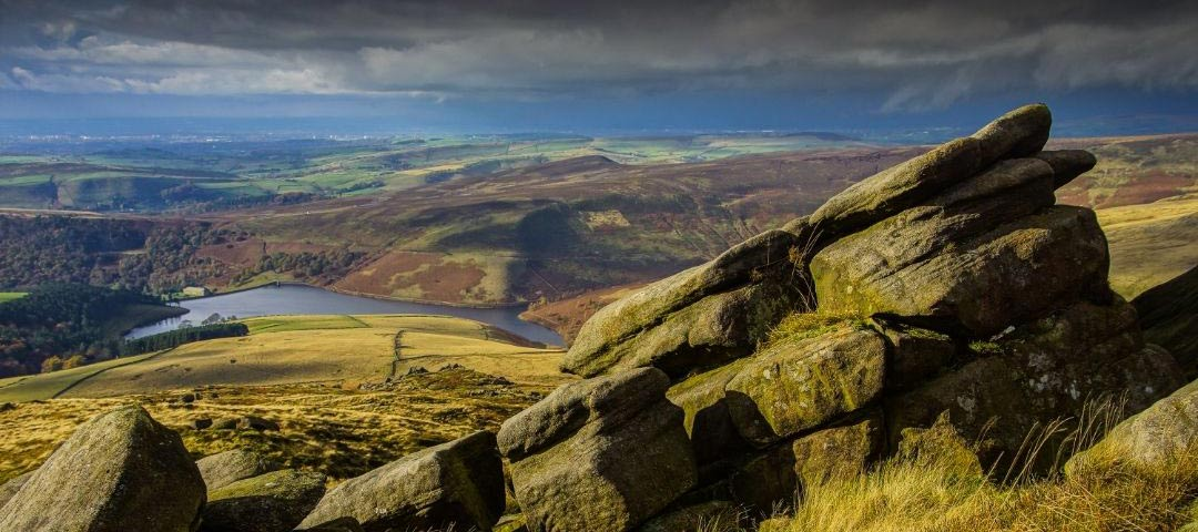 View of Kinder Reservoir from the flanks of Kinder Scout