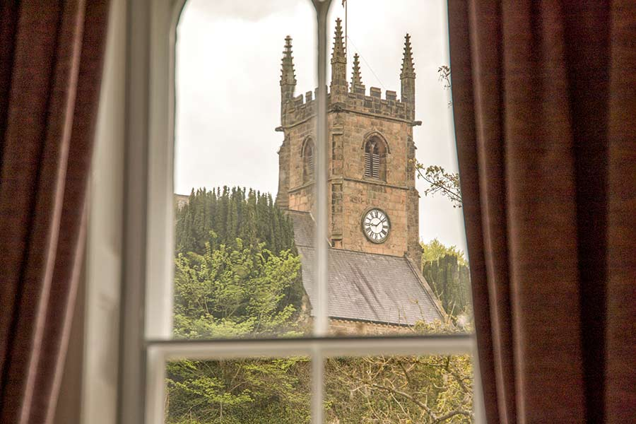 View of church from four poster room