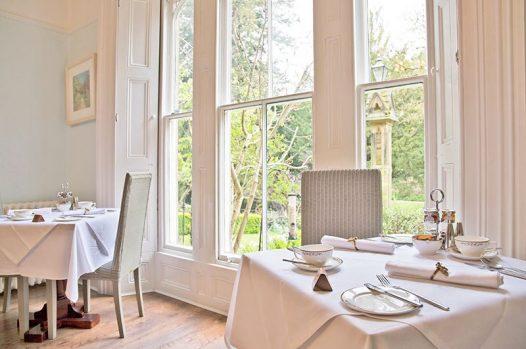 View of garden through dining room window