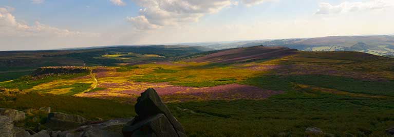 view across Peak District to Iron Age Hill Fort
