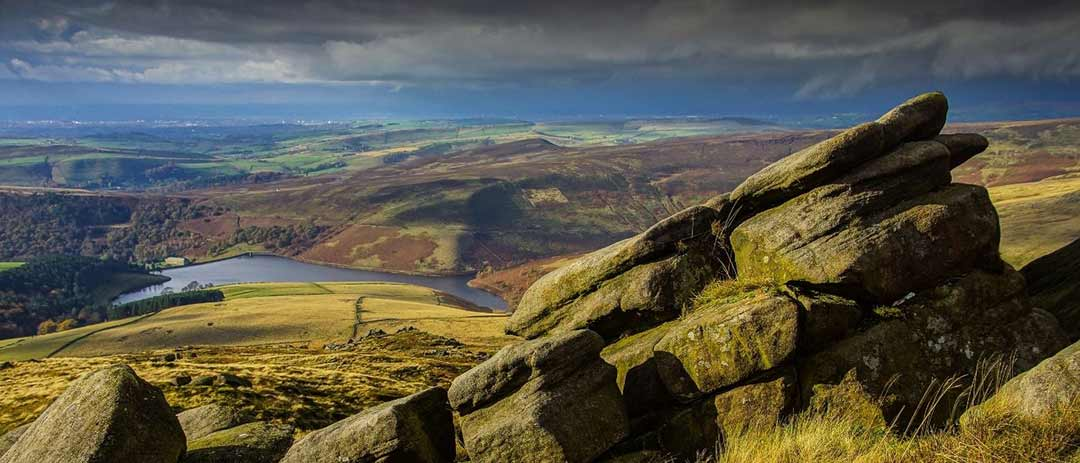 View from Kinder Scout to Kinder Reservoir