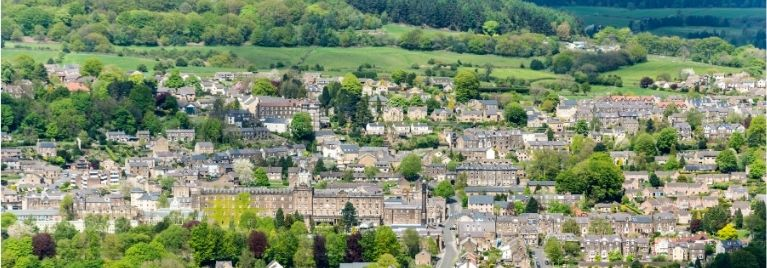 View over Matlock town centre in Derbyshire